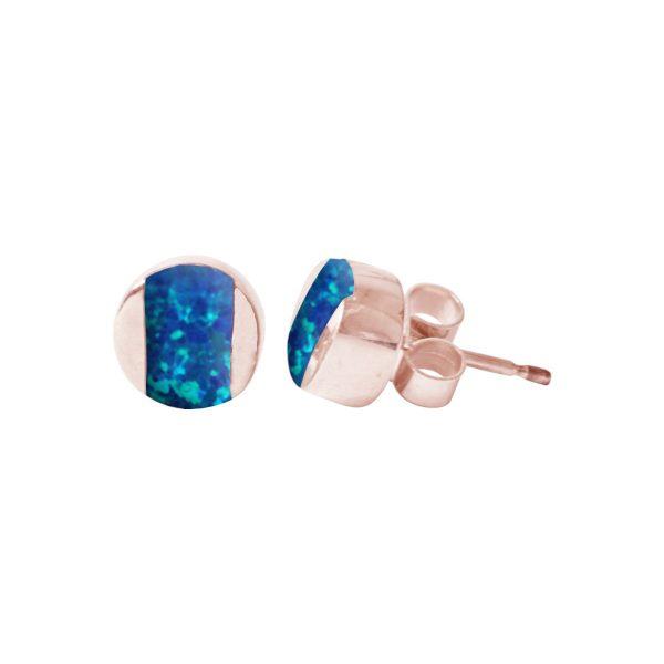 Rose Gold Blue Cobalt Opalite Stud Earrings