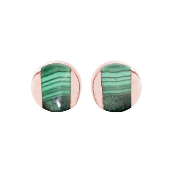 Rose Gold Malachite Stud Earrings