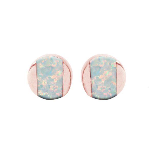 Rose Gold Opalite Sun Ice Stud Earrings