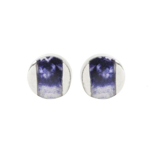 Silver Blue John Stud Earrings