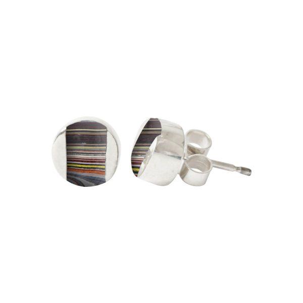 Silver Fordite Stud Earrings