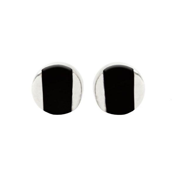 Silver Whitby Jet Stud Earrings