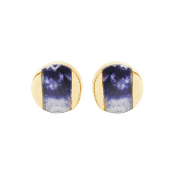 Gold Blue Goldstone Stud Earrings