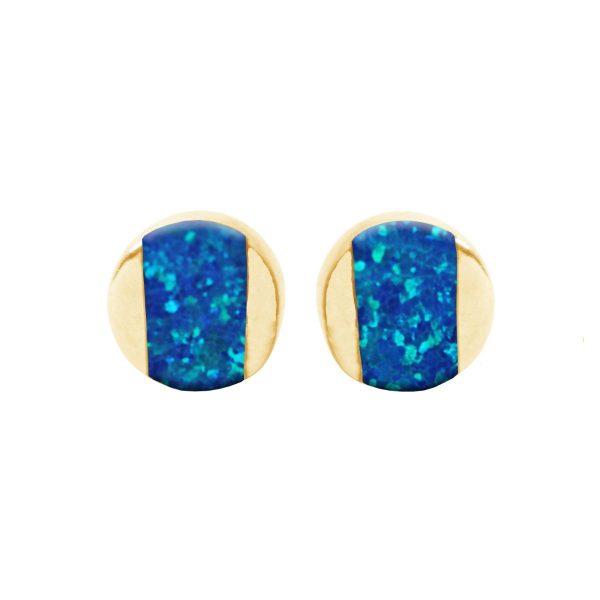 Gold Cobalt Blue Opalite Stud Earrings