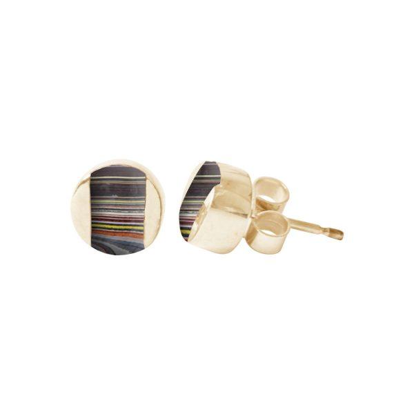 Gold Fordite Stud Earrings