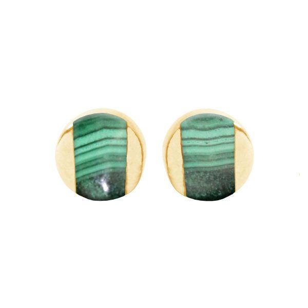Gold Malachite Stud Earrings