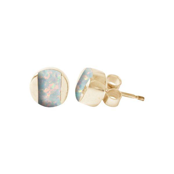 Gold Sun Ice Opalite Stud Earrings