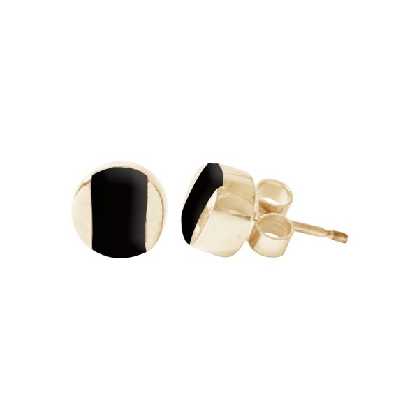 Gold Whitby Jet Stud Earrings