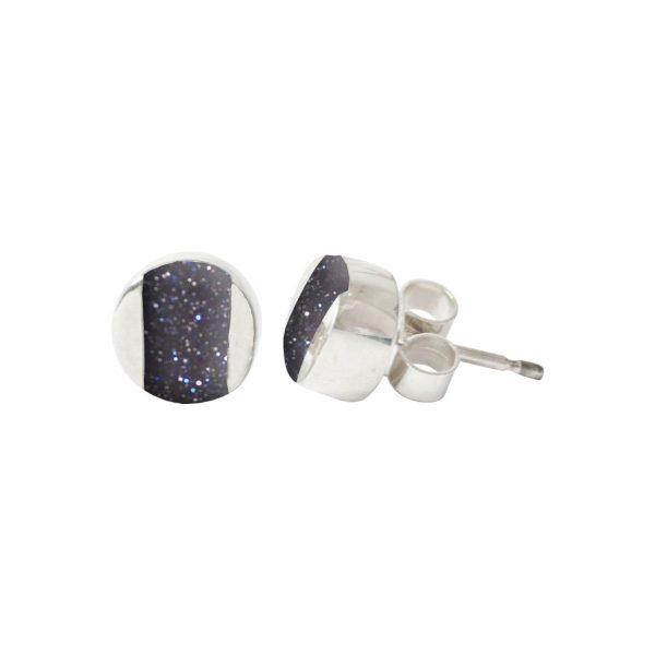 Silver Blue Goldstone Stud Earrings