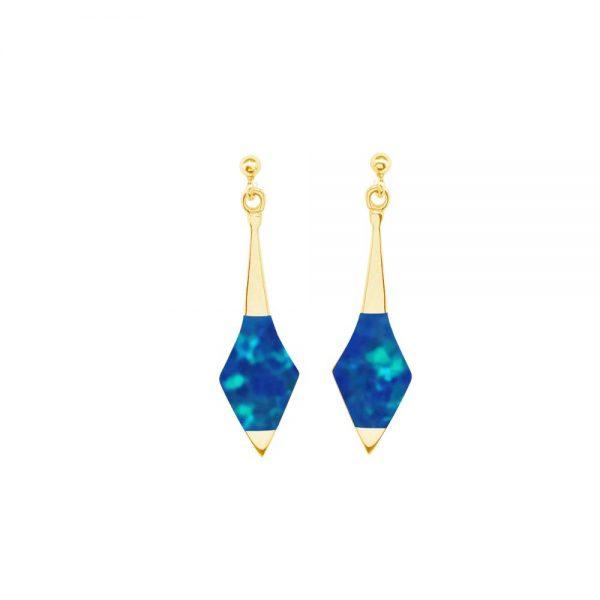 Yellow Gold Opalite Cobalt Blue Drop Earrings