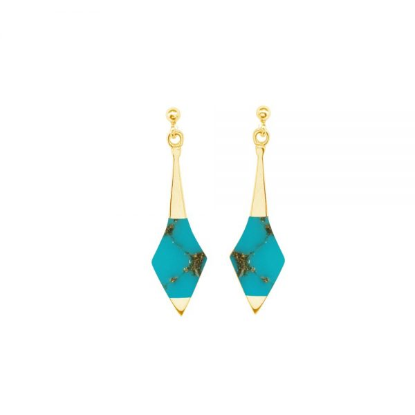 Yellow Gold Turquoise Drop Earrings