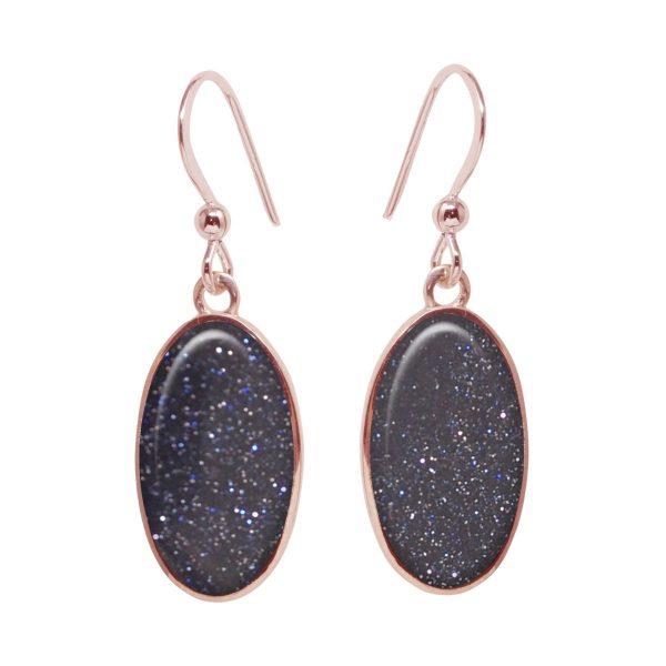 Rose Gold Blue Goldstone Oval Drop Earrings