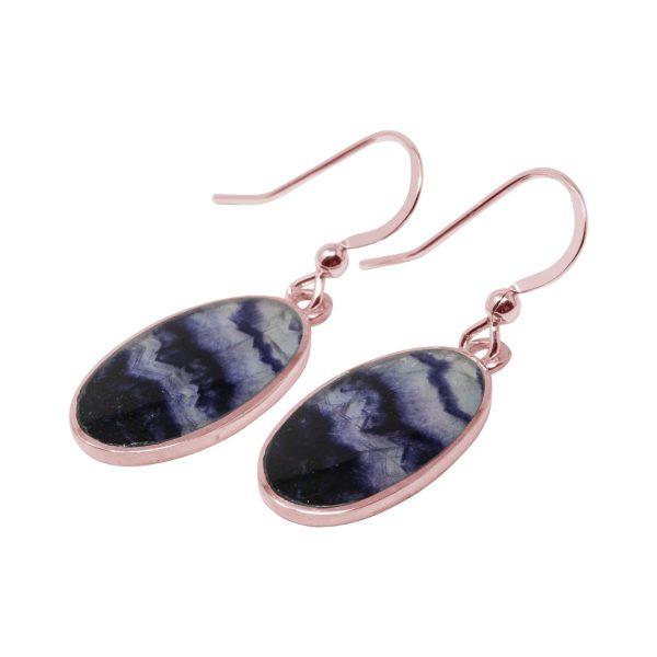 Rose Gold Blue John Oval Drop Earrings