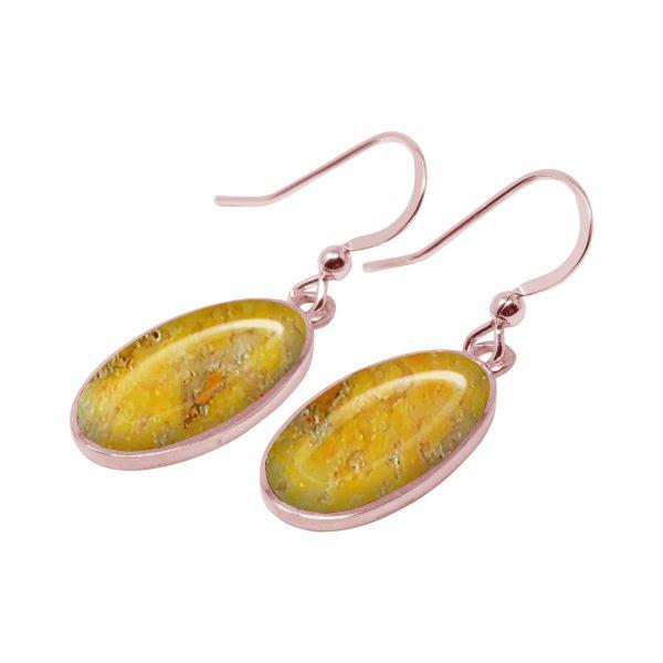 Rose Gold Bumblebee Jasper Oval Drop Earrings