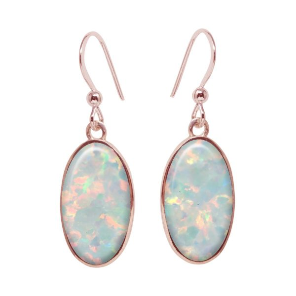 Rose Gold Opalite Sun Ice Oval Drop Earrings