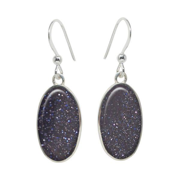 Silver Blue Goldstone Oval Drop Earrings