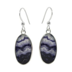 Silver Oval Blue John Drop Earrings