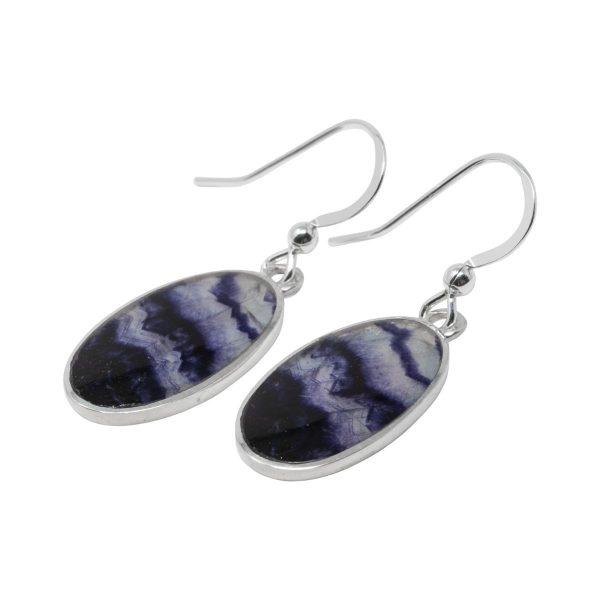 Silver Blue John Oval Drop Earrings