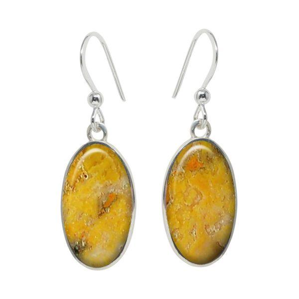 Silver Bumblebee Jasper Oval Drop Earrings