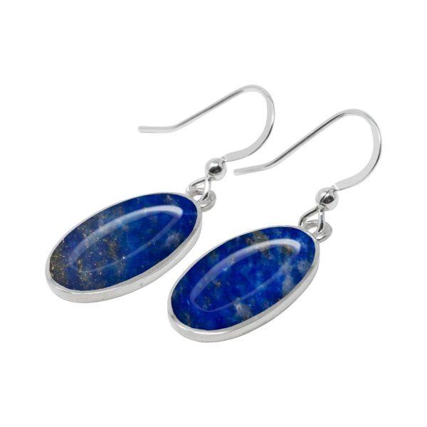 Silver Lapis Oval Drop Earrings