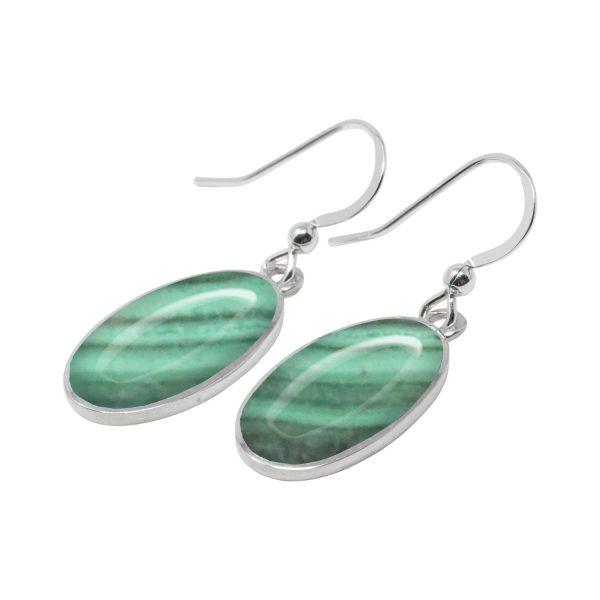 Silver Malachite Oval Drop Earrings