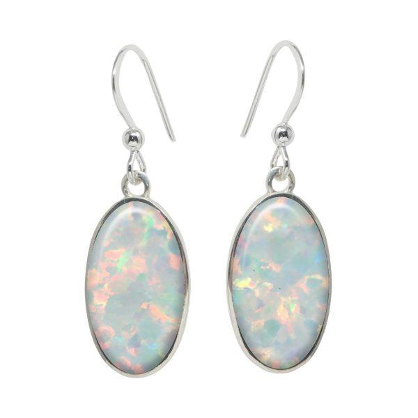 Silver Opalite Sun Ice Oval Drop Earrings