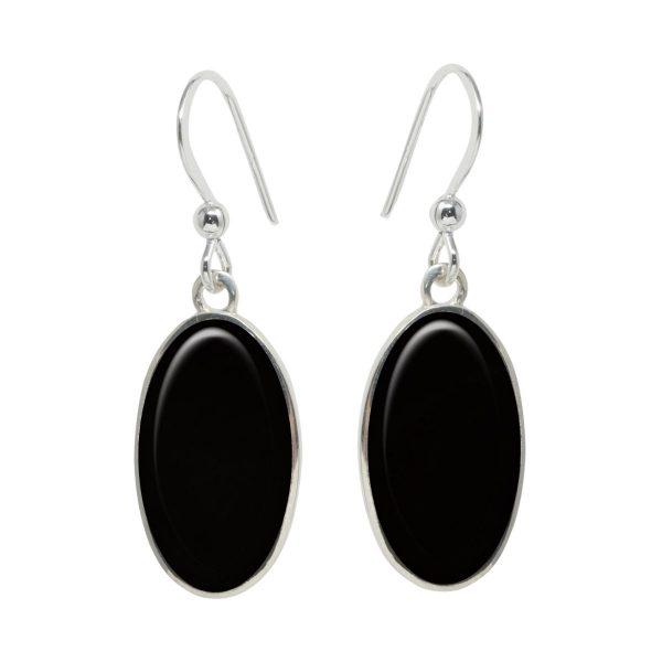 Silver Whitby Jet Oval Drop Earrings