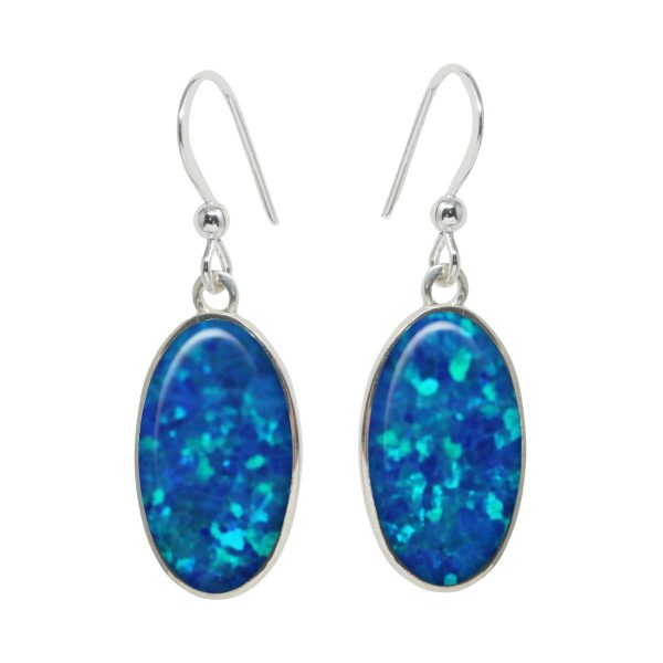 White Gold Opalite Cobalt Blue Oval Drop Earrings