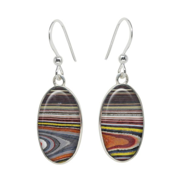 White Gold Fordite Oval Drop Earrings