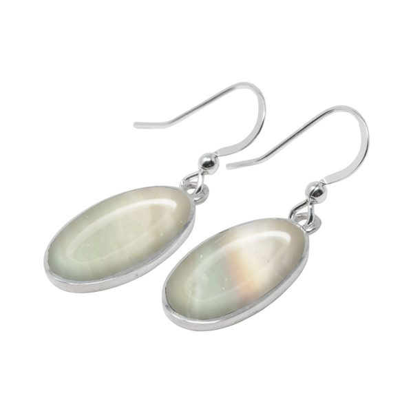 White Gold Mother of Pearl Oval Drop Earrings