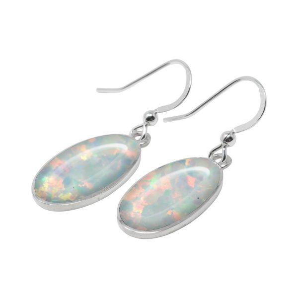 White Gold Opalite Sun Ice Oval Drop Earrings