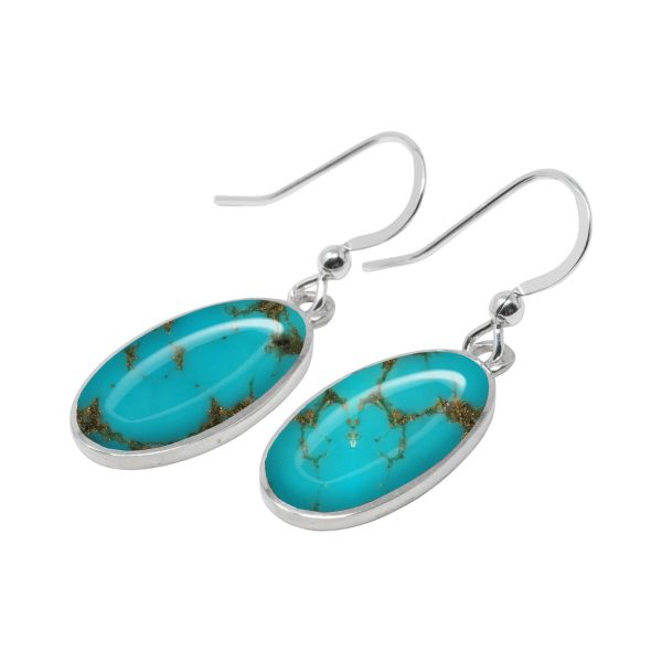 White Gold Turquoise Oval Drop Earrings