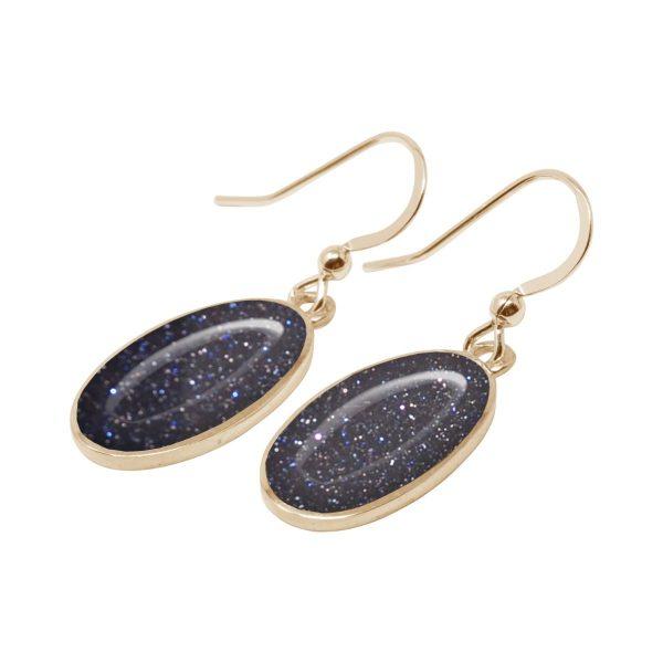 Yellow Gold Blue Goldstone Oval Drop Earrings
