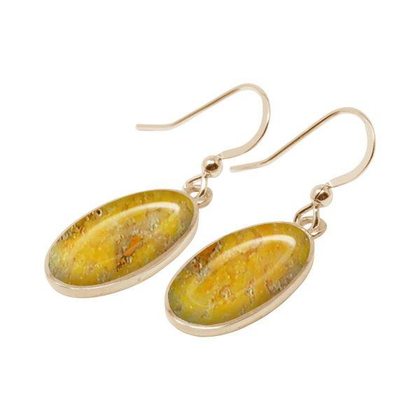 Yellow Gold Bumblebee Jasper Oval Drop Earrings