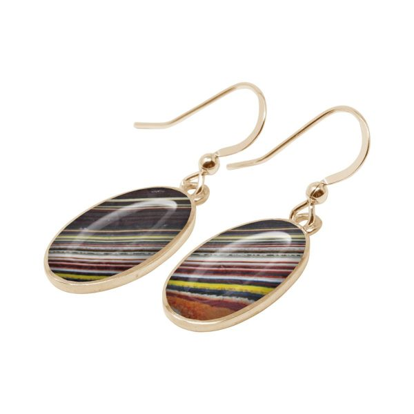 Yellow Gold Fordite Oval Drop Earrings