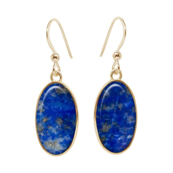 Yellow Gold Lapis Oval Drop Earrings