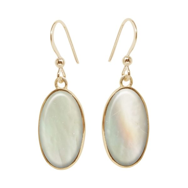 Yellow Gold Mother of Pearl Oval Drop Earrings