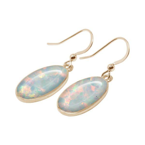 Yellow Gold Opalite Sun Ice Oval Drop Earrings