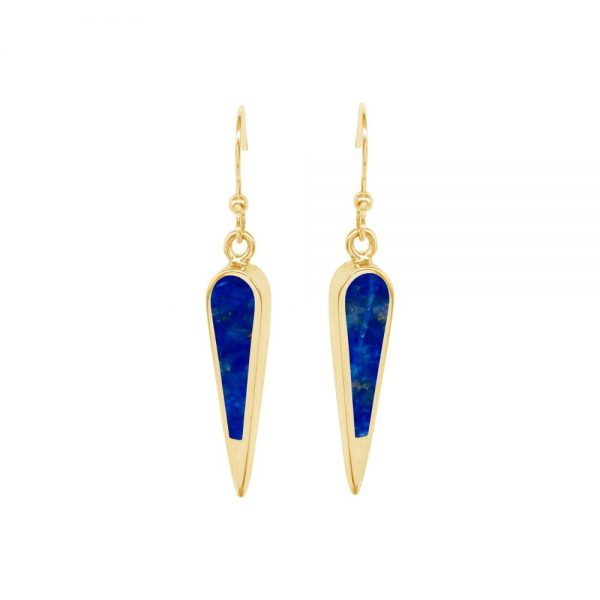 Yellow Gold Lapis Drop Earrings