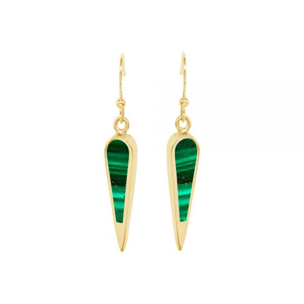 Yellow Gold Malachite Drop Earrings