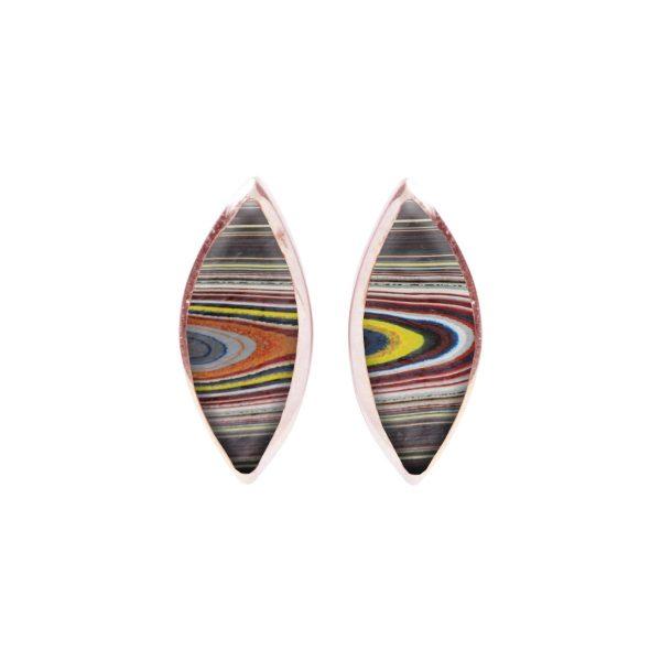 Rose Gold Fordite Stud Earrings