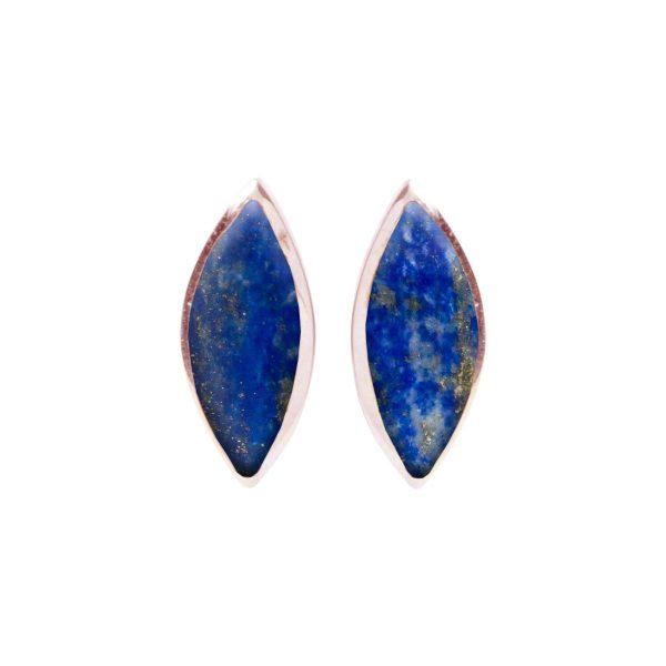 Rose Gold Lapis Stud Earrings