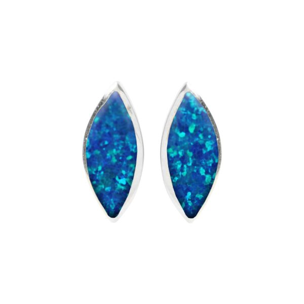 Silver Opalite Cobalt Blue Stud Earrings