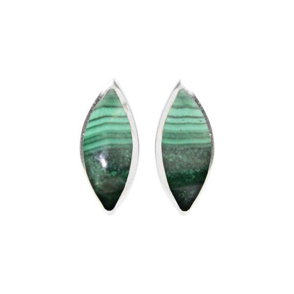 Silver Malachite Stud Earrings