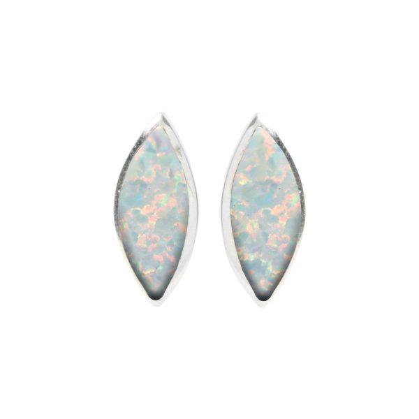Silver Opalite Sun Ice Stud Earrings