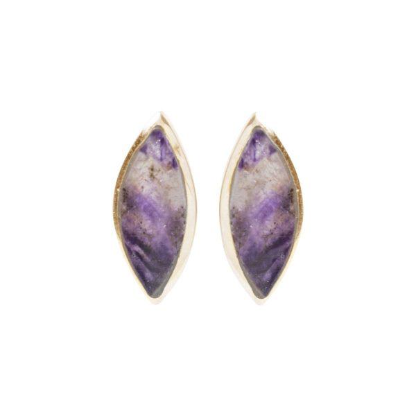 Gold Blue John Stud Earrings