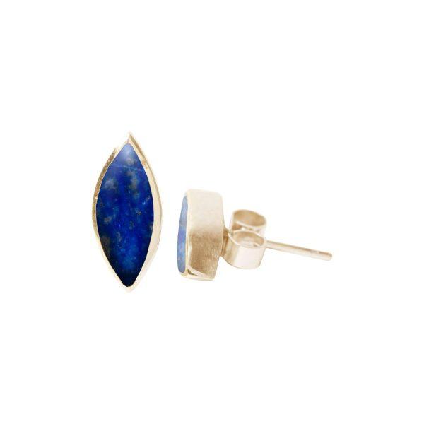 Gold Lapis Stud Earrings