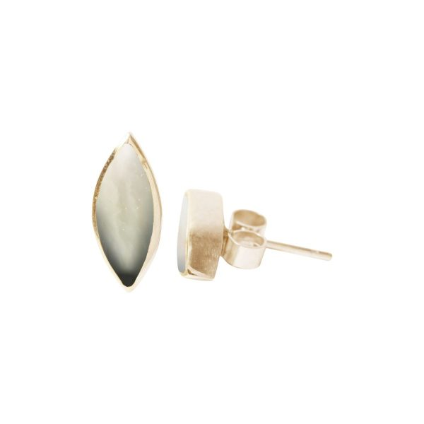 Gold Mother of Pearl Stud Earrings