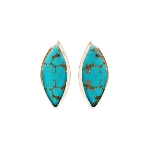 Gold Turquoise Stud Earrings