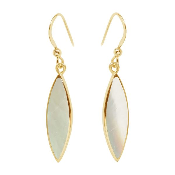 Yellow Gold Mother of Pearl Drop Earrings